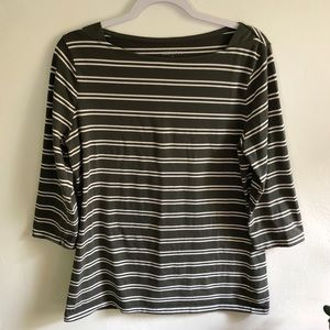 3/15 forest green striped tee top